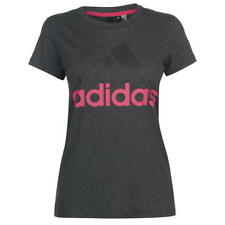 Ladies Genuine Adidas Logo Short Sleeve Sports Linear QT T Shirt Top Size 8-22