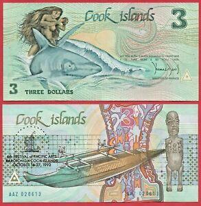 COOK ISLANDS 3 DOLLARS 1992 P6 BANKNOTE UNC