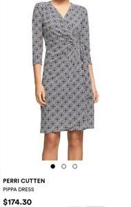 PERRI CUTTEN Women's Printed Wrap Dress, Stretch,  Size M RRP $174 EUC