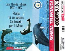 G 623 C&C 2681 SCHEDA TELEFONICA USATA LEGA NAVALE DELFINI VARIANTE NUVOLA