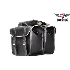 Motorcycle Saddle Bags w/Light Reflector Black Leather Heavy Duty Throw Over Bag