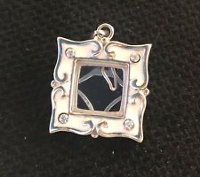 Solid Sterling Silver Picture Frame Charm -pendant With Cubic Zirconia 9g $7.50