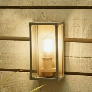 Taupe Metal Box Lantern Wall Light