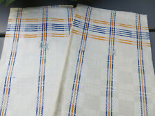 Unused 2 ( two ) checkerboard Linen Towels Yellow + Blue StripesUS-$23.90