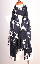 NW62 Black 100% Cotton Soft Long Scarf Shawl Embroidery Flower & Lace Lady's