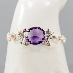 """Vintage Amethyst Bracelet 925 Sterling Silver  Inches 7.5""""/BR05669"""