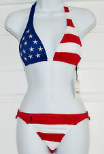 Polo Ralph Lauren American Flag Bikini Two Piece Sz S Stars Striped Swimsuit K16
