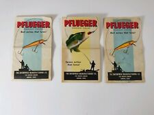 Vintage Pflueger Pocket Catalogs Lot of 3 Spoons and Wooden Baits.