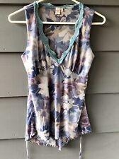 Sweet Pea Sz M Sleeveless Mesh Purple & Blue Floral Blouse