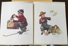 Norman Rockwell  Vintage 1958 Set of 4 Seasons with Sunny Boy  package and Dog