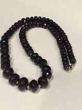 """275 Ct Natural Blue Sapphire Faceted Rondelle Beads Necklace 17-3/4"""" 14k Gold"""