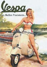 """Vintage Werbeschild """"VESPA PIAGGIO"""" MOTORRAD, WERBUNG,ADVERTISING,POSTER,REKLAME"""