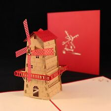 POP UP 3D card - windmill (birthday, thank you, blank, Father's Day)