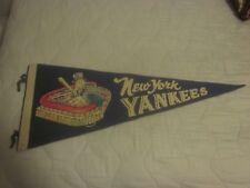Vintage Blue Uncle Sam Swinging New York Yankees 29 Inch Pennant #1