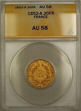 1852-A France 20 Fr Francs Gold Coin ANACS AU-58