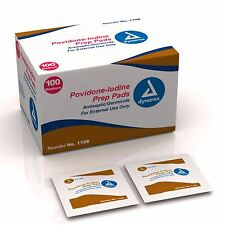 Dynarex Povidone-Iodine Prep Pads (Box of 100) First Aid #1108