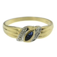 0.17ct Genuine Natural Sapphire & Diamond Ring Solid 14k Yellow Gold Band