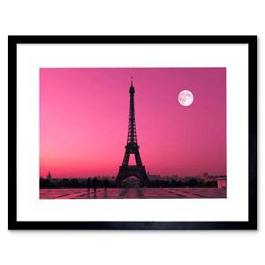 Photo Paris France Dawn Pink Moon Eiffel Tower Framed Art Print 12x16 Inch