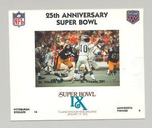 St Vincent #1408 Football Super Bowl IX 1v M/S of 2 Imperf Chromalin Proof