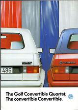 Volkswagen Golf Mk1 Convertible 1986-87 UK Market Sales Brochure 1.6 & 1.8 GTi