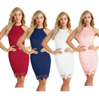 Womens Lady Sleeveless Floral Lace Bodycon Short Mini Dress Party Cocktail Dress