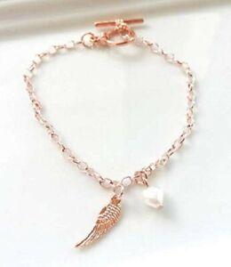 Friendship Charms Bracelet,Rose Gold Plated Angel Wing Charm Bracelet
