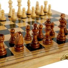 Folding Large Chess Wooden Set Chessboard Wood Board Gift Toys 290*145*48mm