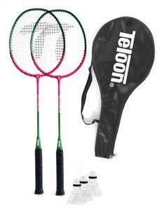 TELOON Badminton Federball Freizeit Spiel Set 2 Schläger + 3 Bälle +  Tasche