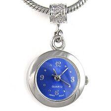 Navy Blue Silver Quartz Watch European Spacer Charm Bead For Bracelet EBA2