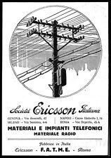 PUBBLICITA' 1927 SOCIETA' ERICSSON ITALIANA IMPIANTI TELEFONICI RADIO TRALICCIO