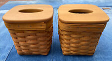 Pair Of Longaberger Tall Square Tissue Baskets with Lids + Liners Handwoven