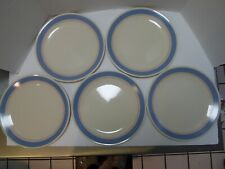 """Corning Corelle Colonial Blue 10-1/4"""" Dinner Plates lot of 5 Blue & Pink Stripes"""