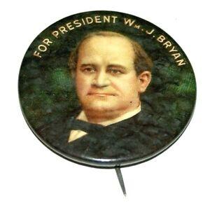 "1900 WILLIAM JENNINGS BRYAN 1.75"" wm. j campaign pin pinback button presidential"