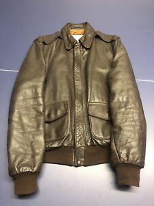 Aviation Leathercraft A2 Pilots USAF brown leather  jacket 44L