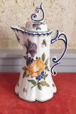 Malicorne théière verseuse faience décor fleurs tea pot