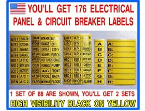 176 CIRCUIT BREAKER ELECTRICAL PANEL BOX LABELS. IDENTIFY ALL YOUR CIRCUITS!
