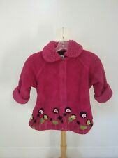 Corky & Company Fleece Coat Girls Size 4 (XS) Pink with Flower Appliques