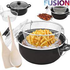 Non Stick Chip Pan Set Fryer Deep Fat Frying Basket Pot W Glass Lid Black 24Cm