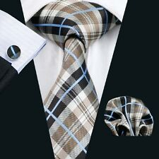 Classic Brown Grey Mens Tie 100% SIlk Necktie Plaids Checks Blue Stripe Set C382