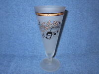 """ELVIS PRESLEY 7 3/4"""" FROSTED GLASS CHAMPAGNE FLUTE W/ GOLD ACCENTS - NICE"""