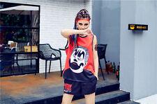Ladies Top and Shorts Set Orange Black Joker Hip Hop Sport Boxing - LTS0002