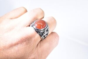Vintage Stainless Steel Genuine Carnelian Size 9.25 Men's Cross Ring