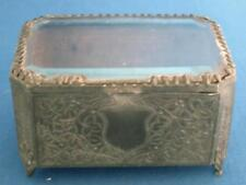 Antique French Pewter Trinket Keepsake Box Casket Glass Top and Shield