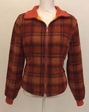 Vintage Tsunami Wool Orange Plaid Sweater Jacket - Womans Fleece Lined Coat - L