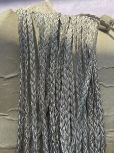 Antique Metallic Tape, Silver Upholstery Braided Ribbon. Vintage Millinery, 1m