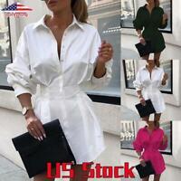 US Women V Neck Mini Shirt Dress Ladies Casual Long Sleeve OL Work Tops Blouse