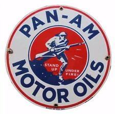 "PAN - AM SIGN , vintage replica gas station sign, 8"" ALUMINUM, garage, motor oil"