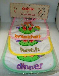 CUTIE PIE 3 Piece Bib Set 4 Breakfast, Lunch & Dinner NIP  #2
