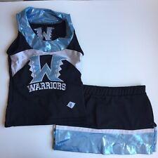 Dehen Cheer Uniform Shimmery Blue Youth Sleeveless Top S Skirt Child Size 2