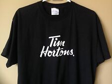 Tim Horton's Coffee Timbit Donuts Advertising Black Crewneck T-Shirt Men's Large